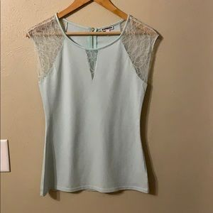 Express Sleeveless Knit with Lace Trim